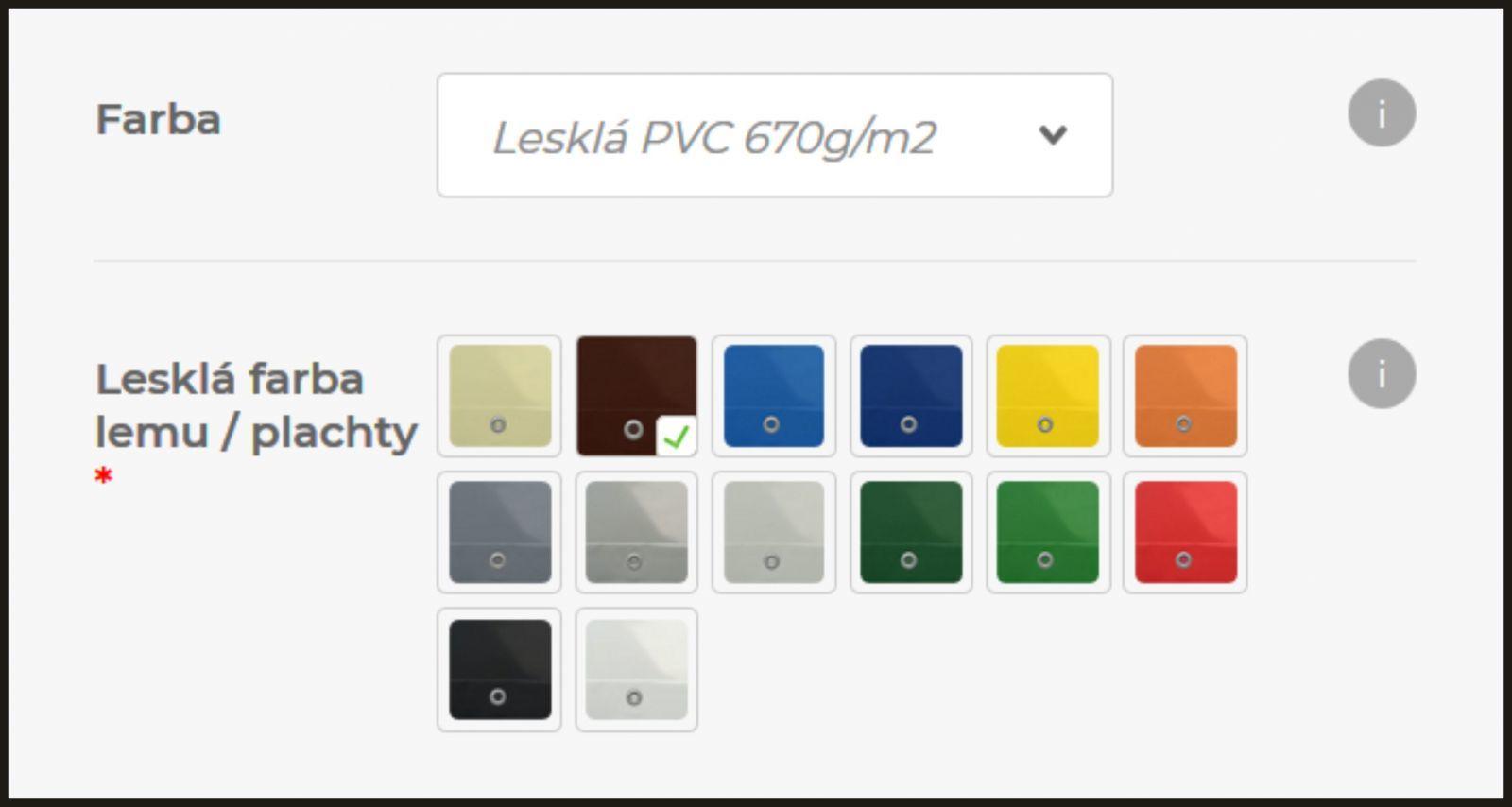 výber farby lemu alebo plachty